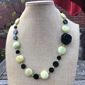 Green/White Marbled with Black Beads Necklace